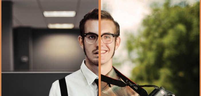 Split picture of a man in a traditional office job versus his true dream of being a photographer.