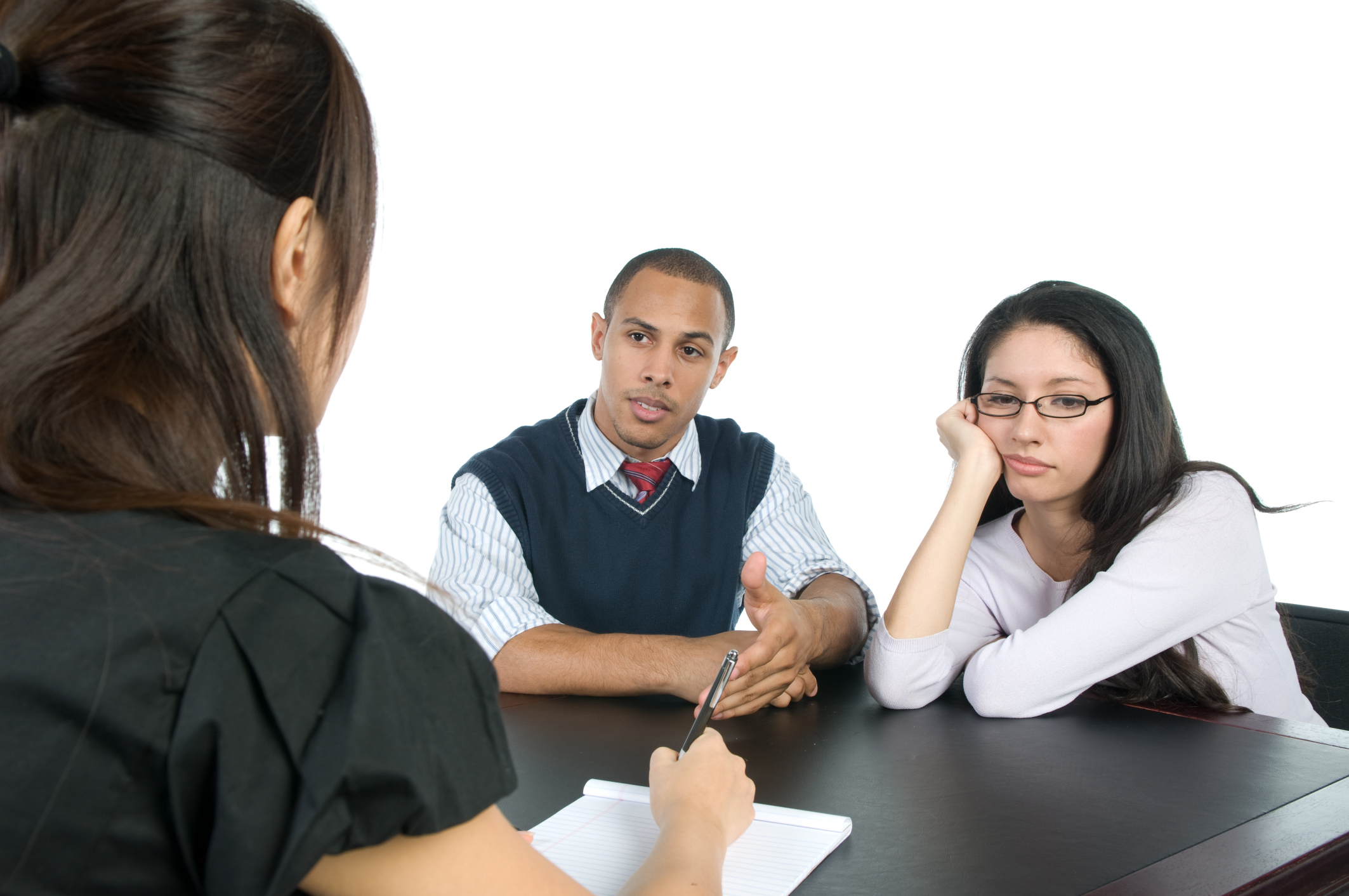Unhappy couple getting counseling